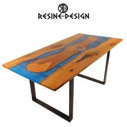 Table rivière ou table en bois résine et acier