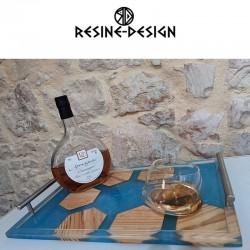 Plateau de service en bois et résine fait main et de fabrication Française.