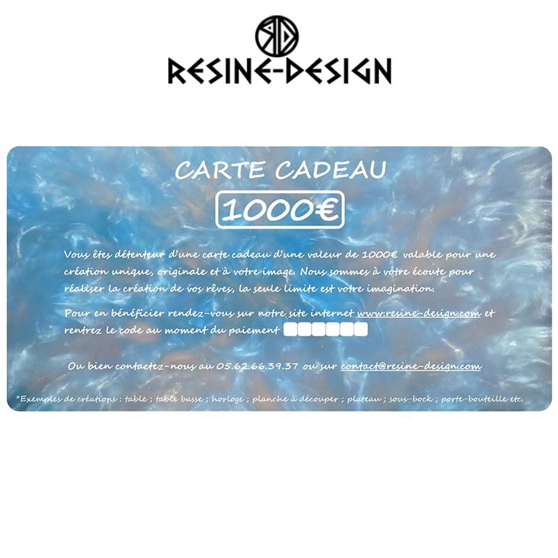 Carte cadeau d'une valeur de 1000€ sur tous les produits de la boutique Resine Design ou pour une création unique et sur mesure.